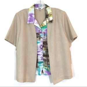 Alia Multi Color Button Down Shirt with Blazer 14P